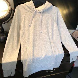 Grey hoodie with fleece lined hood
